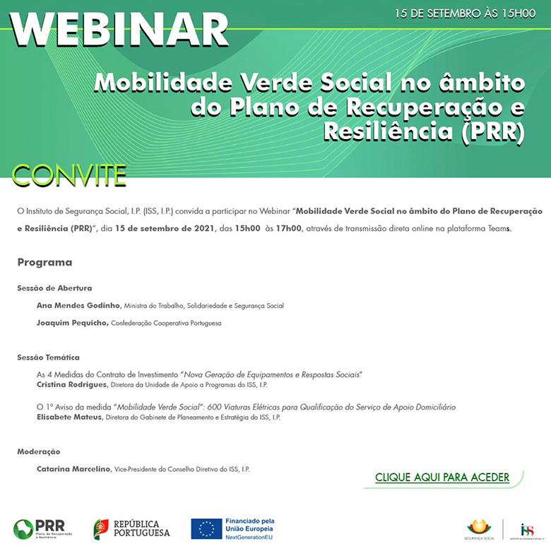 """Webinar """"Mobilidade Verde Social no âmbito do Plano de Recuperação e Resiliência (PRR)"""""""